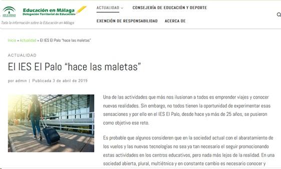 La actividad internacional del IES El Palo es noticia de actualidad en la Delegación Provincial de Educación de Málaga