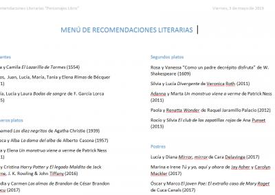 RECOMENDACIONES LITERARIAS Personajes-Libro en IES EL PALO